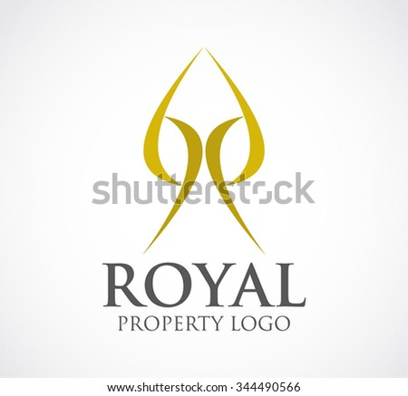 Royal of gold ribbon property abstract vector and logo design or template real estate business icon of company identity symbol concept - stock vector