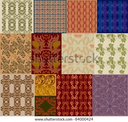 royal old seamless texture set - stock vector
