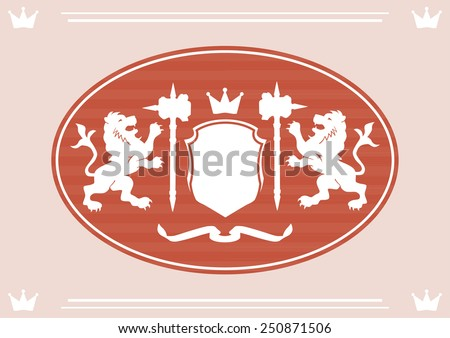 Royal orange color label with two lions, shield and hammer icons background - stock vector