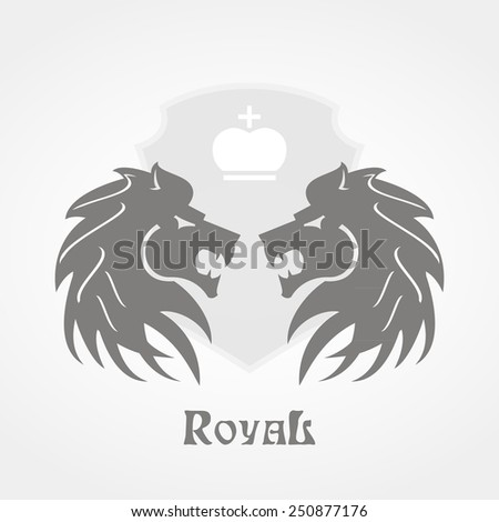 Royal poster with two lion heads in grey color and shield with crown in white background - stock vector