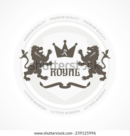 Royal premium quality stamp or icon with two lions and crown in grey concept design style - stock vector