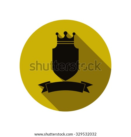 Royal security simple shield with crown and ribbon. Heraldic decoration, can be used in advertising and design. - stock vector