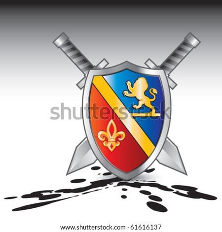 royal shield and swords oil splattered ground - stock vector