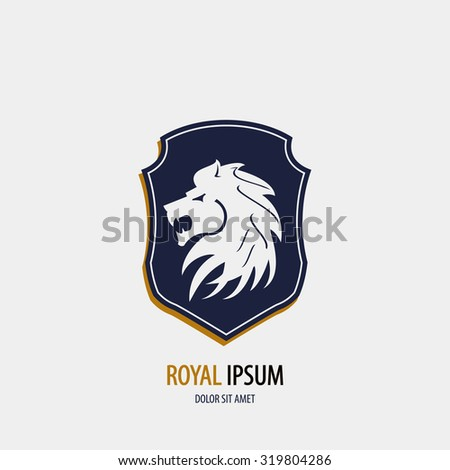 Royal simple logo with blue shield and lion head on grey background art - stock vector