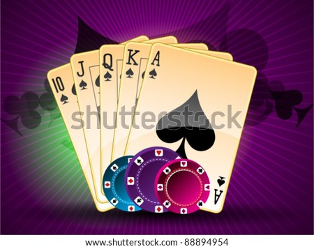 Royal straight flush poker cards of diamonds - stock vector