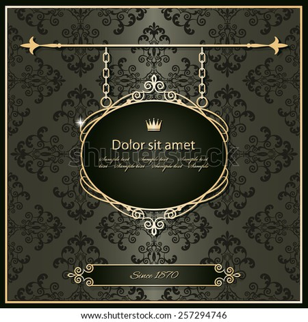 Royal vintage frame on damask. Luxury template in golden and dark chocolate brown colors. - stock vector
