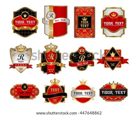royal vintage label. set - stock vector