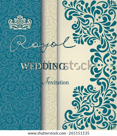 Royal wedding invitation vintage lace border stock vector 265151135 royal wedding invitation vintage lace border in blue stopboris Image collections