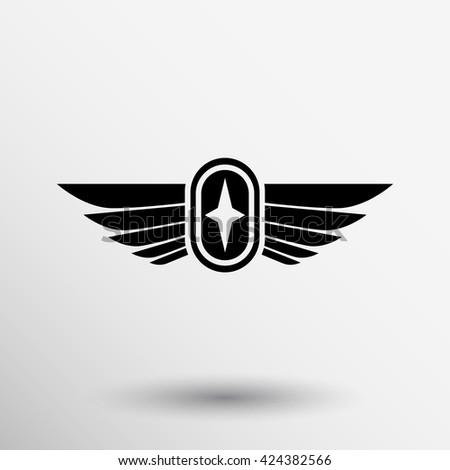 Royal Wing award abstract icon logo vector. - stock vector