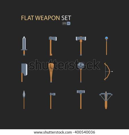 RPG weapon set flat. Vector illustration eps 10. Isolated on dark background - stock vector