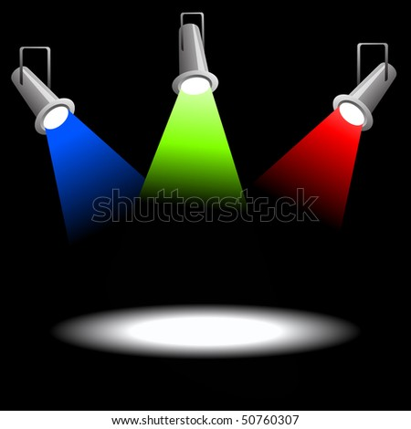 Rrojectors on black background - stock vector