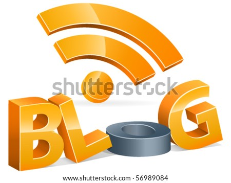 rss blog 3d - vector illustration - stock vector