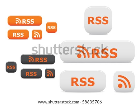 Rss buttons and symbols. Jpeg version also available in gallery - stock vector