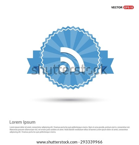 RSS icon - abstract logo type icon - Retro vintage badge and label Blue background. Vector illustration - stock vector