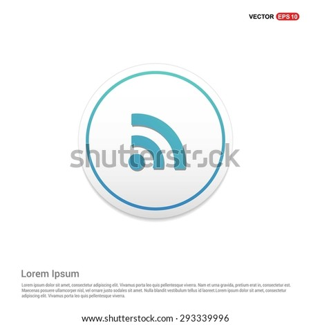RSS icon - abstract logo type icon - turquoise icon on white button background. Vector illustration - stock vector