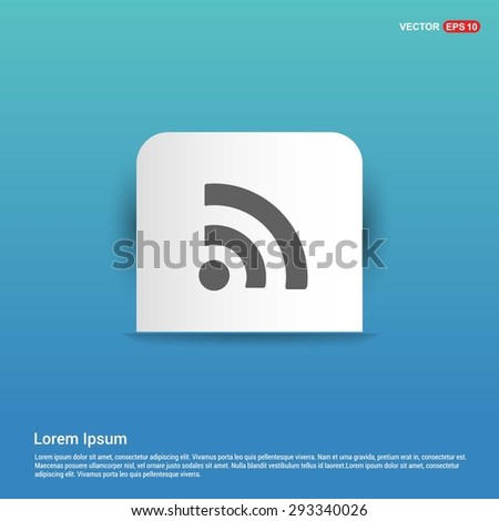 RSS icon - abstract logo type icon - white sticker on blue background. Vector illustration - stock vector