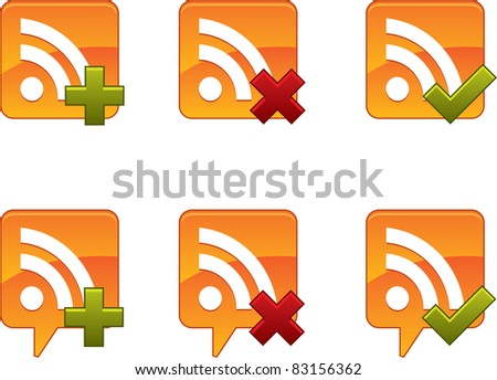 RSS Icon Set - stock vector
