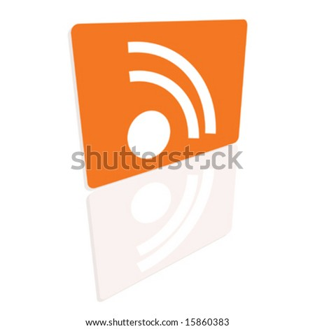 RSS icon with perspective and reflection - stock vector