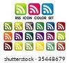 RSS Symbol icon color set - stock