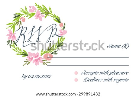 RSVP card suite with frame. Wedding, invitation card. Elegance pattern with flowers. Vintage vector illustration. - stock vector