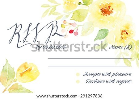 RSVP card suite with watercolor frame. Wedding, invitation card. Elegance pattern with flowers. Vintage vector illustration. - stock vector