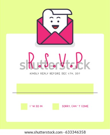 rsvp layout design with response text box template vector illustration of rsvp character