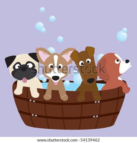 rub-a-dub-dub, 4 pups in a tub - stock vector