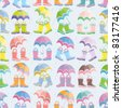 Rubber boots and umbrellas seamless pattern - stock vector