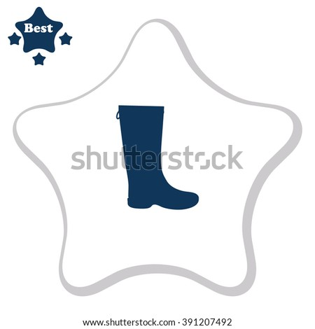 Rubber boots vector icon.