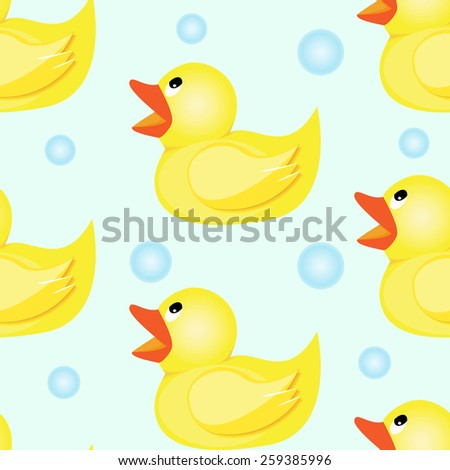 Rubber duck seamless pattern - stock vector