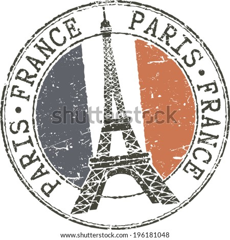 Rubber Grunge Stamp Paris France With Eiffel Tower And French Flag