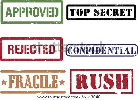 Rubber grunge stamps (approved confidential fragile rush rejected and top secret). - stock vector