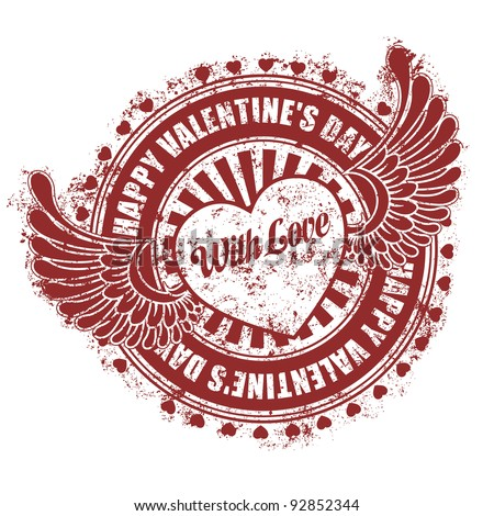 Rubber stamp Happy Valentine's day - stock vector