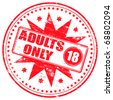 "Rubber stamp illustration showing ""ADULTS ONLY"" text and 18 symbol - stock vector"