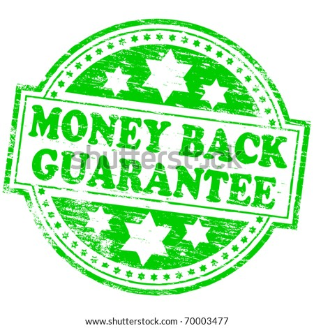 "Rubber stamp illustration showing ""MONEY BACK GUARANTEE"" text"