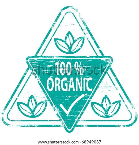"Rubber stamp illustration showing ""100 PERCENT ORGANIC"" text - stock vector"