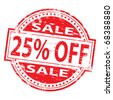 """Rubber stamp illustration showing """"25% Off"""" text - stock vector"""