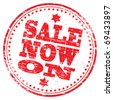 "Rubber stamp illustration showing ""SALE NOW ON"" text - stock photo"