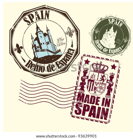 Rubber stamp of Spain with a medieval castle and the arms