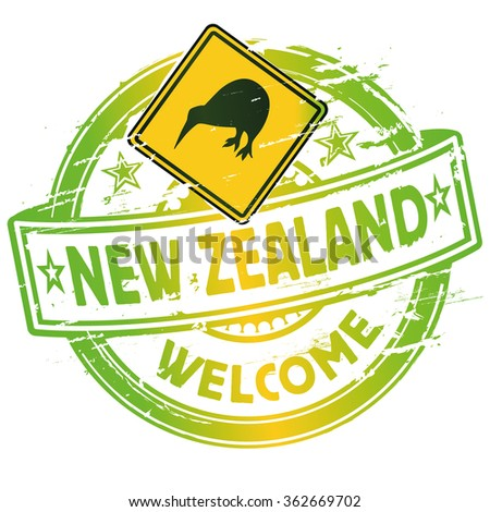 Rubber stamp welcome in New Zealand - stock vector
