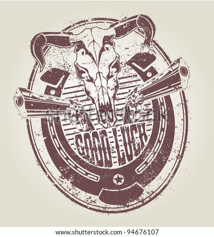 Rubber stamp with a horseshoe revolvers and a skull of a bull.  vector - stock vector