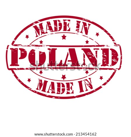 Rubber stamp with text made in Poland inside, vector illustration