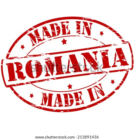 Rubber stamp with text made in Romania inside, vector illustration