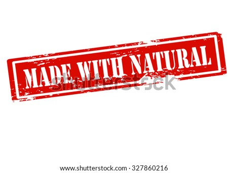 Rubber stamp with text made with natural inside, vector illustration
