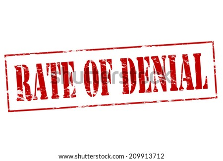 Rubber stamp with text rate of denial inside, vector illustration