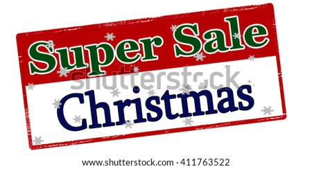 Rubber stamp with text super sale Christmas inside, vector illustration - stock vector