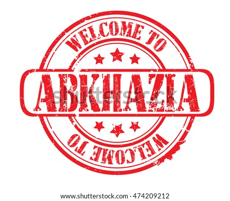 "rubber stamp with text ""welcome to Abkhazia"" on white, vector illustration"