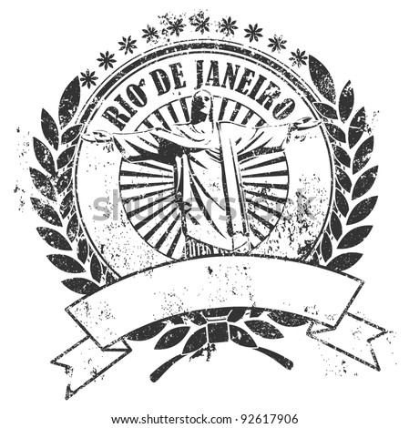 Rubber stamp with the image of the Christ and an inscription of Rio de Janeiro and an empty place for the text - stock vector