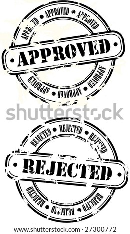 Rubber Stamps - approved and rejected - vector illustrations - stock vector