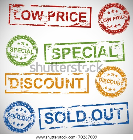 Rubber Stamps for Promotions. - stock vector